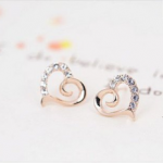 Gold Diamond Heart-Shaped Earrings Only $0.99 + Free Shipping