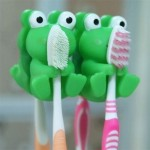 Adorable 2 Piece Green Frog Wall Suction Holders for Toothbrushes ONLY $1.99 + Free Shipping!