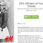 H&M: Get 25% Off One Item In-Store Only w/ Printable Coupon (Exp 1/15)