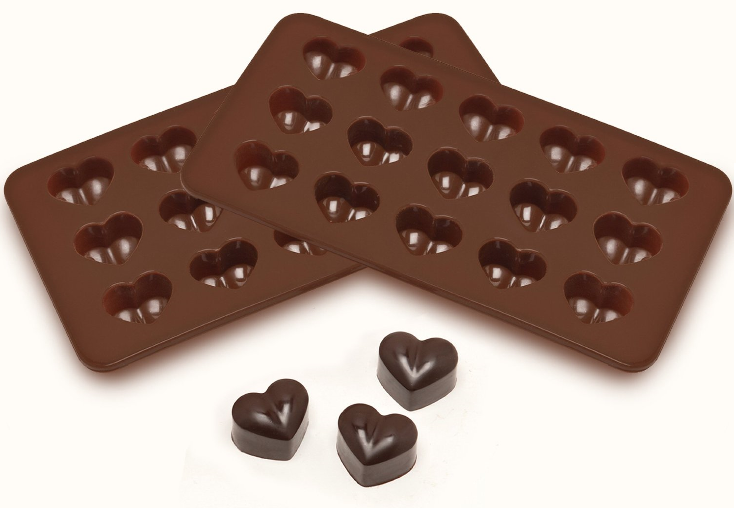 2 Heart Shaped Silicone Molds for Chocolate, Jelly & Candy Only ...