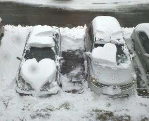 snow hearts on cars