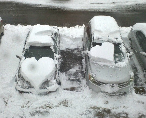 snow hearts on cars