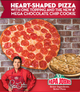 Papa Johns: Heart Shaped Pizza & Chocolate Chip Cookie Just $15 (Exp 2/16)