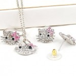 Silver Kitty Rhinestone Crystal Fashion Jewelry Set with Pink Bow ONLY $2.59 + FREE Shipping!