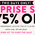 Kate Spade – Surprise Sale Up to 75% Off + $5 Ground Shipping to all States (Thru August 7th)