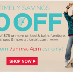 Kmart – Get $10 off a $75 Online Purchase Today from 7am – 4pm ONLY! (7/20)