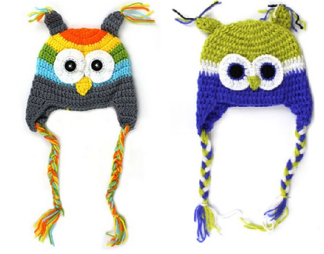 knitted owl hats