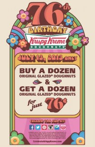 Krispy Kreme Doughnuts – Buy a Dozen & Get a Dozen for just 76 cents!