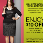 Lane Bryant: Get $10 off a $10 Purchase w/ Text Code!