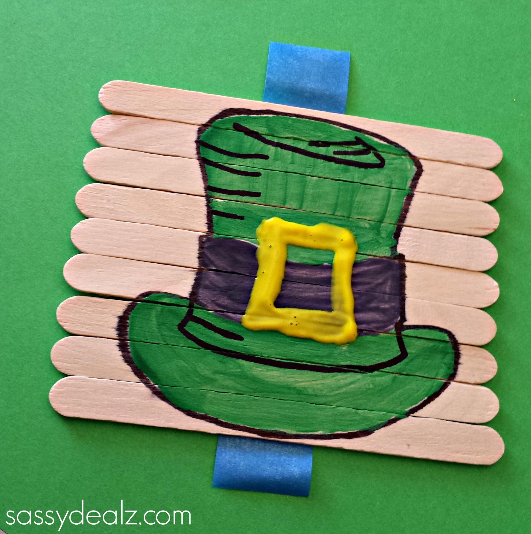 Crafts for st patricks day - St Patricks Day Popsicle Stick Puzzle Craft Shamrock Popsicle Stick Puzzle Craft