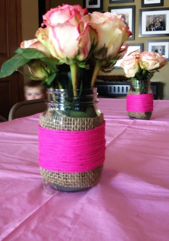 Mason Jar Baby Shower Flowers