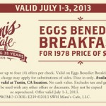 Mimi's Cafe – Eggs Benedict Breakfast Only $3.95 (July 1-3)