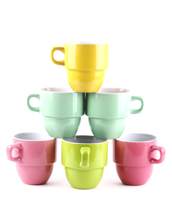 Francois Et Mimi 6 Piece Large Sized Stacking Mug Set Only