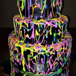 Awesome Neon Splatter Birthday Cake Idea