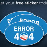 Free Obamacare Error 404 Sticker