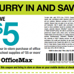 OfficeMax – $5 off a $25 Purchase Printable Coupon & Online Promo Code