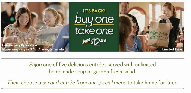 Olive Garden Buy One Entree Take One Free Is Back Sassy Dealz