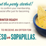 On The Border – FREE Queso or Sopapillas Printable Coupon (Email Sign-Up)
