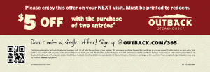 Outback Steakhouse -$5 Off Two Entrees Printable Coupon (+Sweepstakes!)