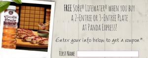 Panda Express – Get a FREE Sobe Lifewater w/ a 2 or 3 Entree Plate Printable Coupon