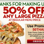 Papa John's- Get 50% Off a Large Pizza w/ Online Promo Code (Expires August 18th)