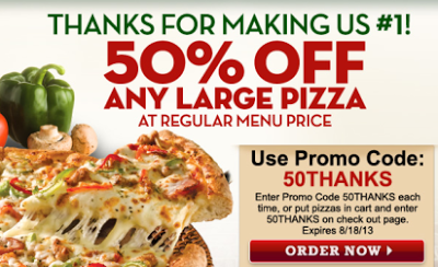 Papa John S Get 50 Off A Large Pizza W Online Promo Code Expires August 18th