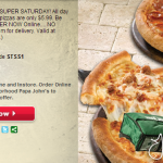Papa John's- Large 1 Topping Pizza ONLY $5.99 w/ Online Promo Code! (Super Saturday Deal 8/3)