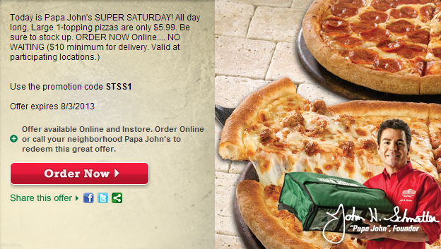 Today's top Papa John's coupon: 25% Off Sitewide. See 40 Papa Johns Promo Code and Coupons for December