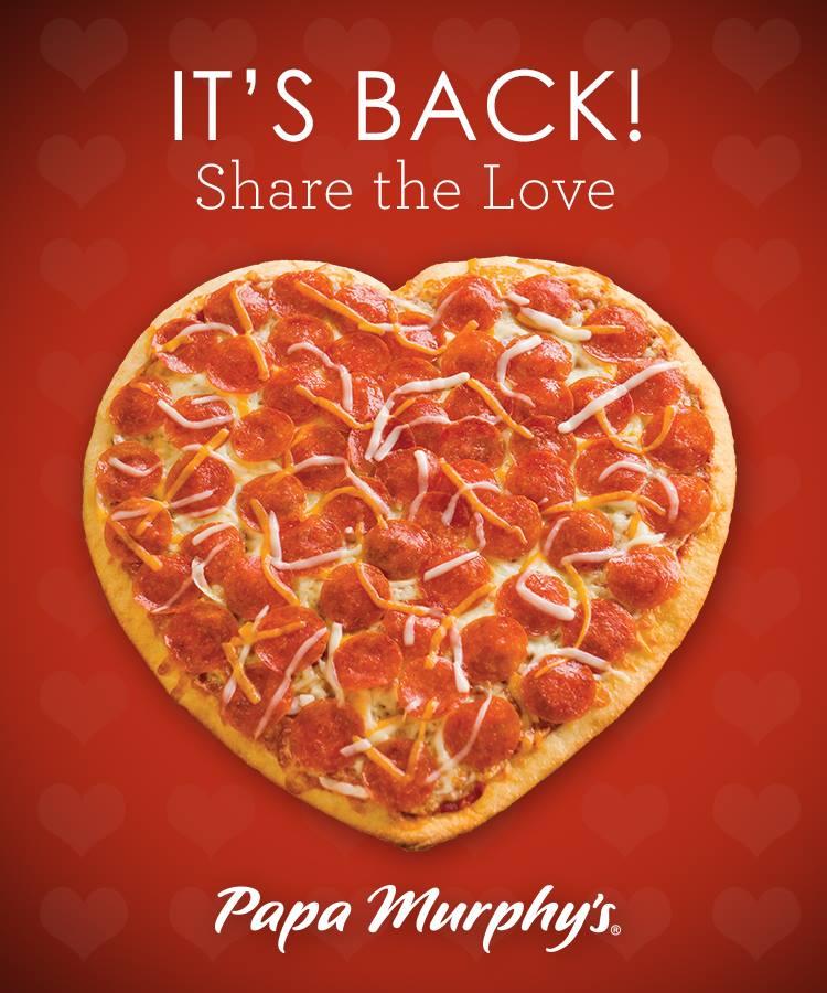 papa murphys heart pizza