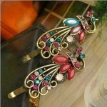 2 Vintage Crystal Peacock Hair Clips Only $1.59 Shipped!