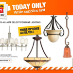 Home Depot- Get up to 40% Off Pendant Lighting + Free Shipping (Today Only!)