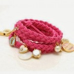 Pink Fashion Leather Woven Bracelet with Charms ONLY $1.51 + Free Shipping!