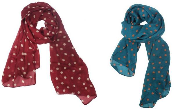polka dot chiffon scarf