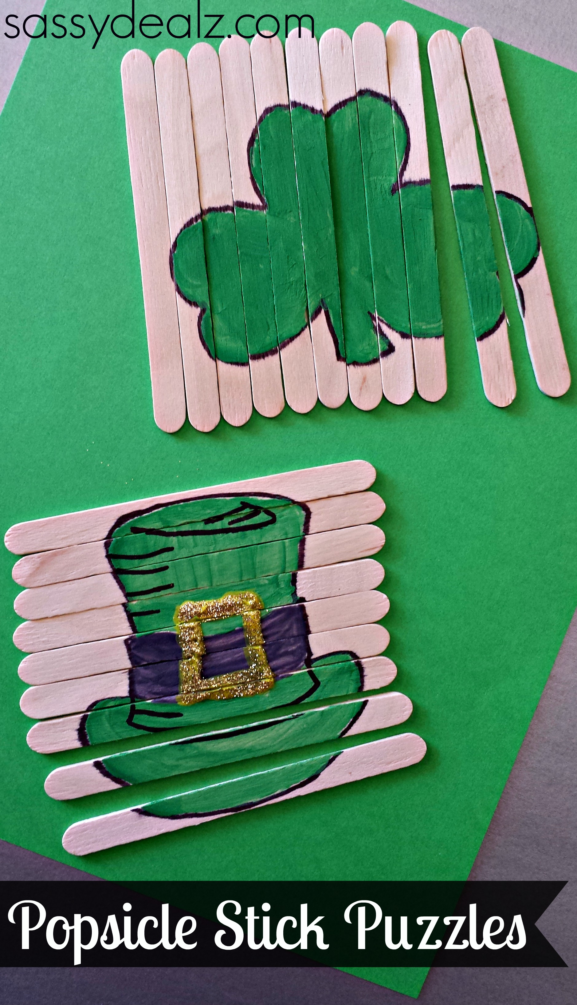 St patricks day preschool crafts -  St Patrick S Day Popsicle Stick Craft Diy Puzzles