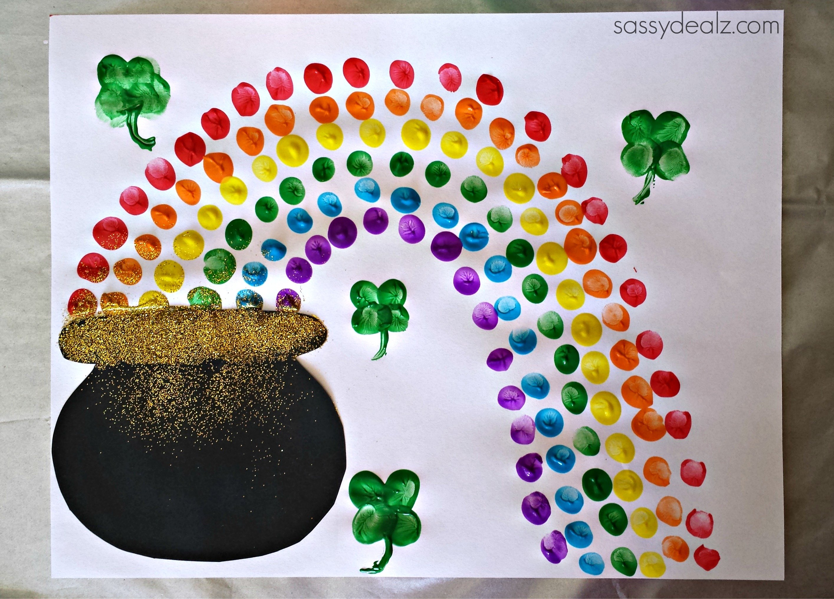 fingerprint rainbow pot of gold craft for st patrick u0027s day
