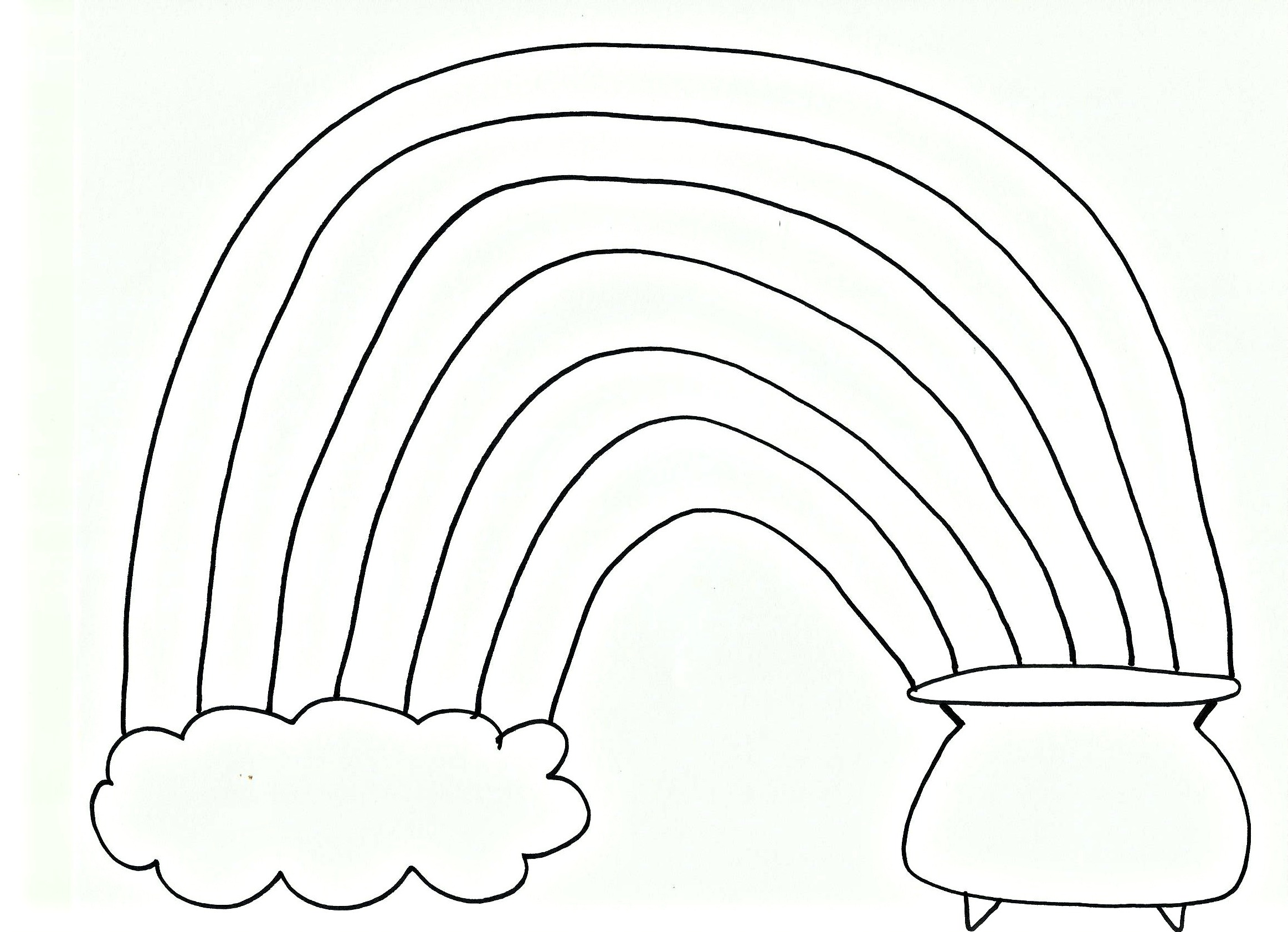 Free Pot Of Gold Rainbow Coloring Pages