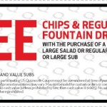 Quizno's- Get Free Chips & Drink w/ Purchase of Salad or Large Sub (Printable Coupon Exp. 8/19)