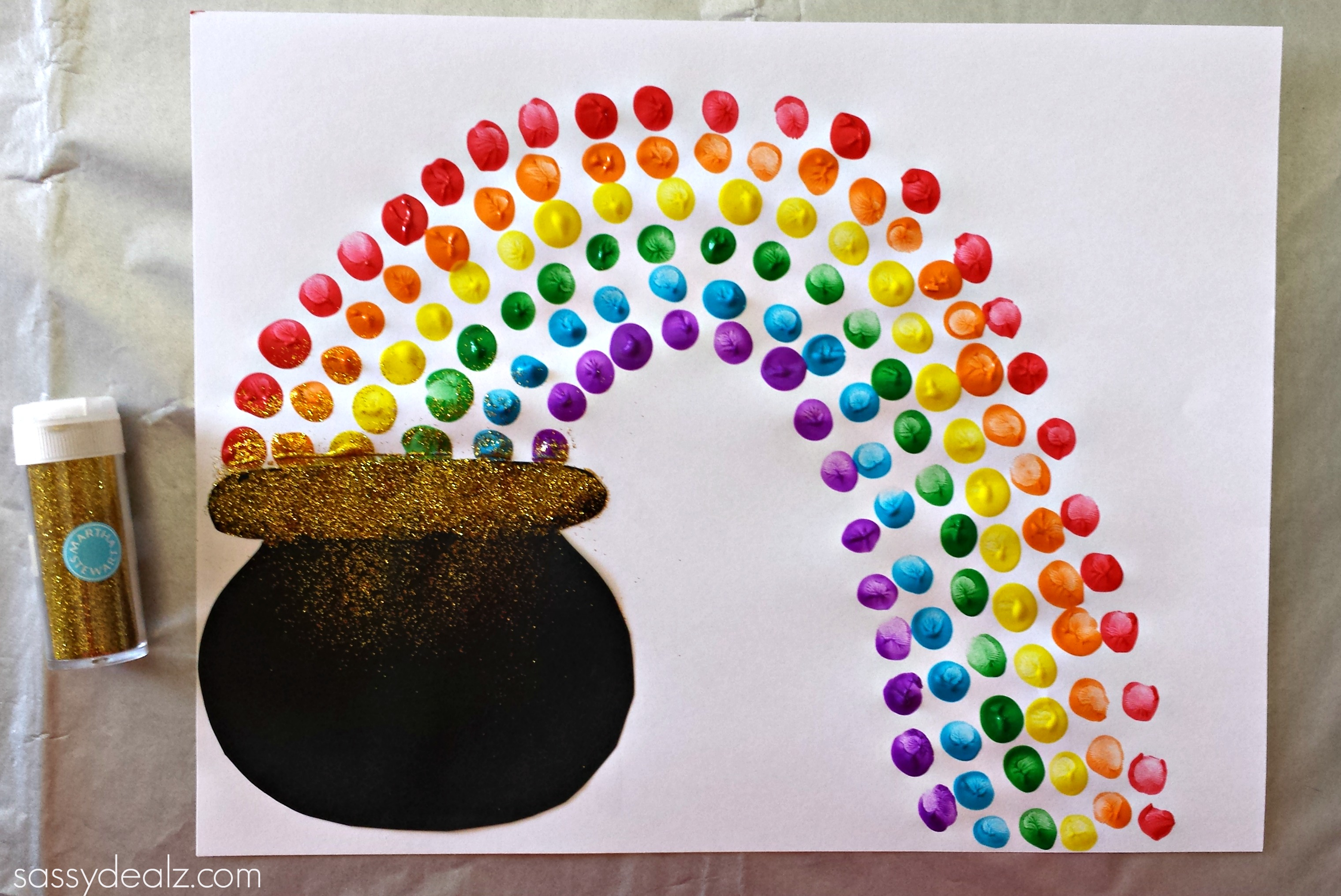 fingerprint rainbow pot of gold craft for st patrick s day crafty