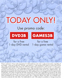 Get a FREE RedBox DVD Rental + Game Rental w/ Promo Codes TODAY ONLY! (August 1st)