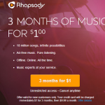 Rhapsody- Get 3 Months of Music For ONLY $1.00! (New Customers Only)