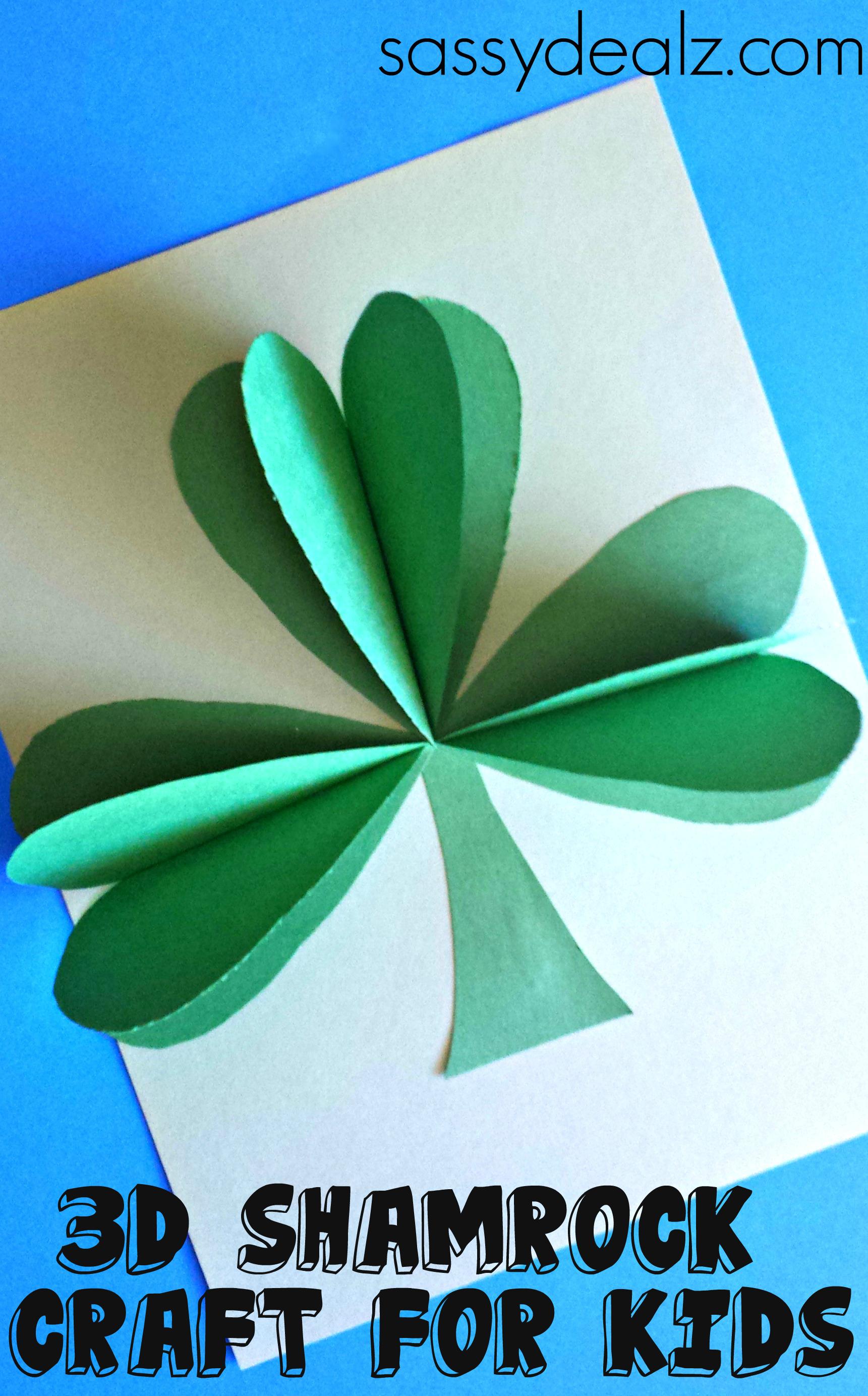 3d Craft Ideas For Kids Part - 50: 3d Shamrock Paper Craft