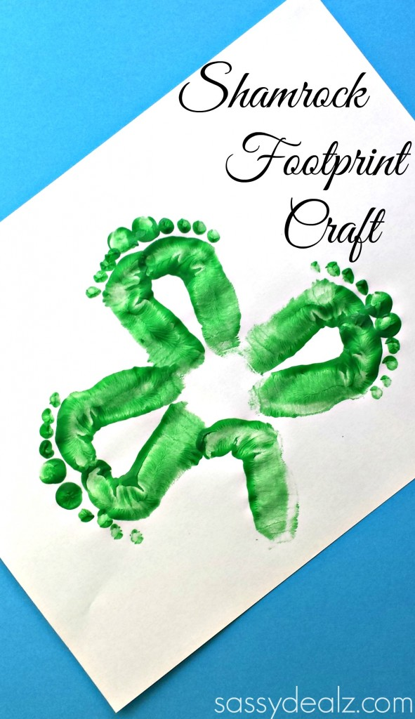 footprint shamrock craft for st patricks day