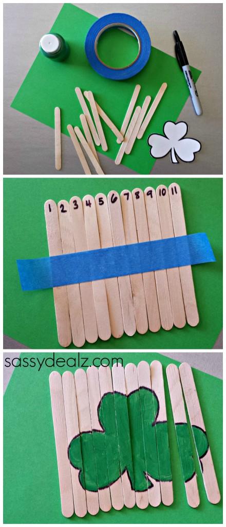 shamrock-popsicle-stick-puzzles