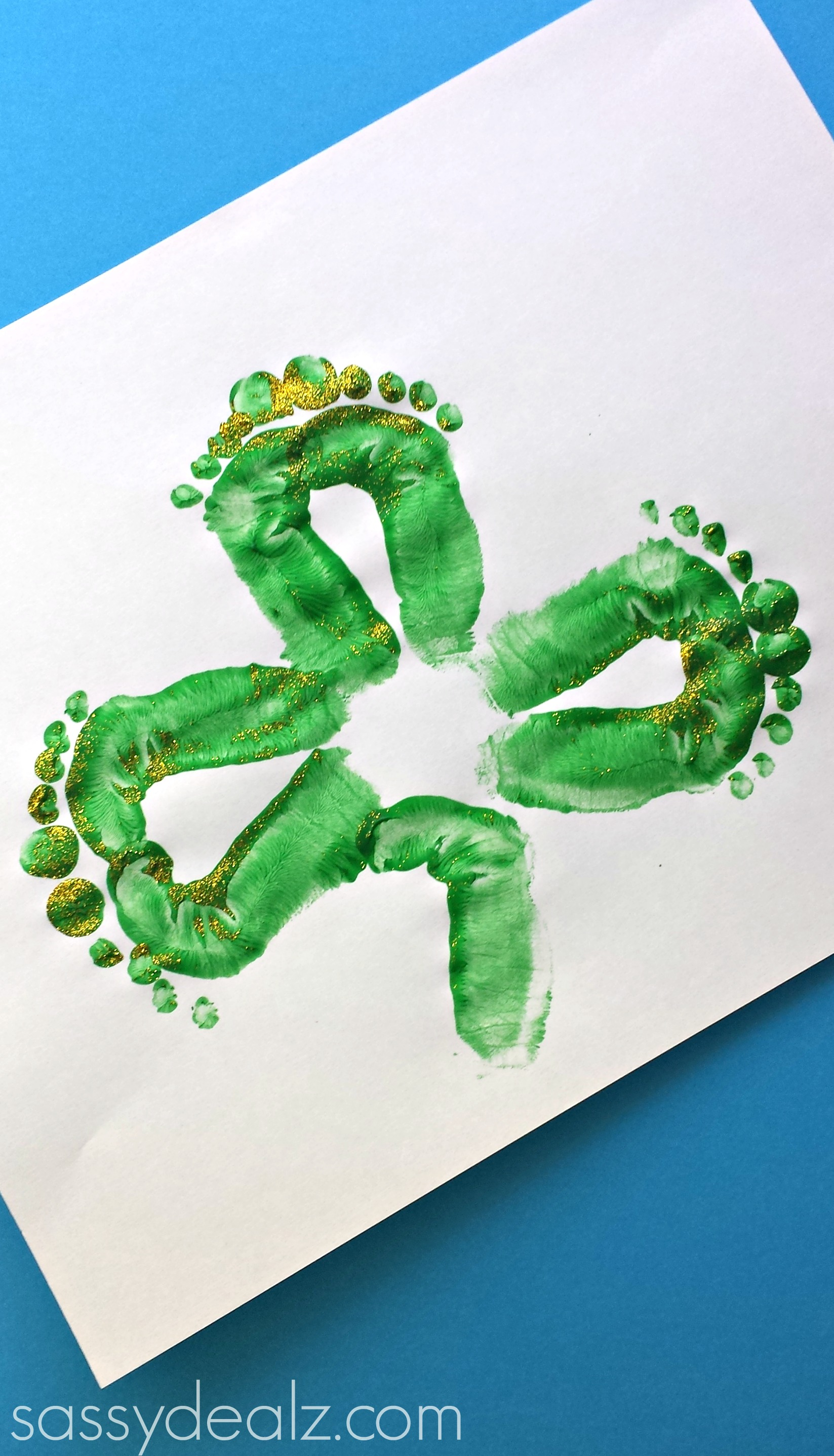 kids shamrock footprint craft for st patrick u0027s day crafty morning