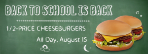 Sonic Drive-In- Get 50% Off Cheeseburgers All Day August 15th!