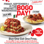 Spaghetti Warehouse- Buy One Spaghetti Entree Get One Free w/ Printable Coupon (Valid 9/6 ONLY!)