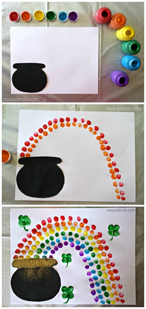 pot of gold rainbow fingerprint craft