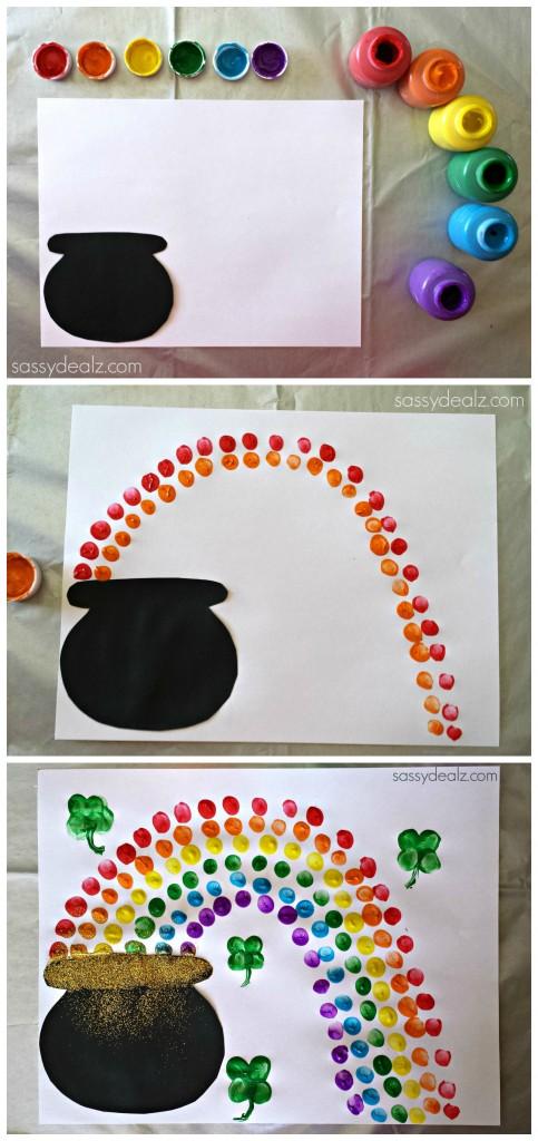 pot of gold rainbow fingerprint craft