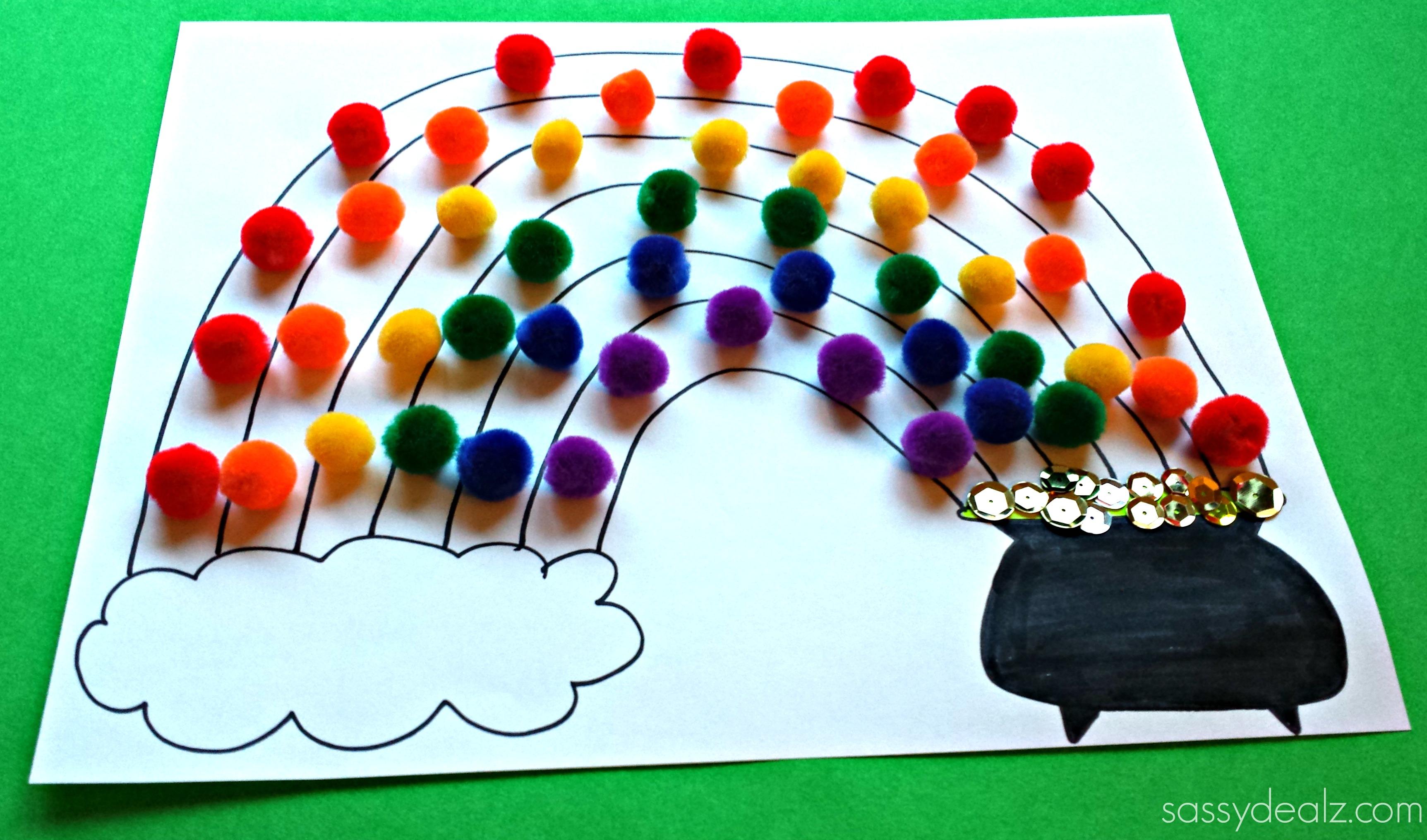 Pom pom rainbow craft for st patrick 39 s day free for Where to buy pom poms for crafts