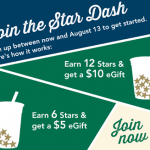 Starbucks – Star Dash (Buy Drinks, Accumulate Stars, Get $5 or $10 eGfit Cards!) Valid Until August 13th